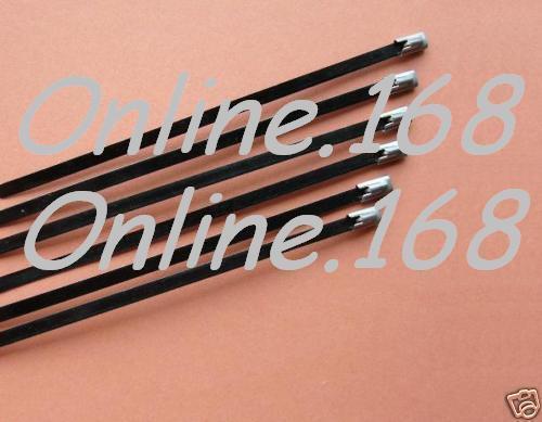 Black PVC Coated Stainless Steel Cable Ties 7.9 x 200mm Marine Grade Zip Ties