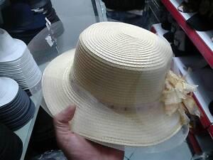 cappello-BEIGE-elegante-cerimonia-taglia-unica-paglia-hat-cocktail-donna-mare-CC