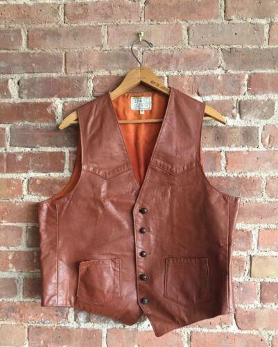 Vintage H Bar C Men's Leather Vest, Sz 44 XL Brown