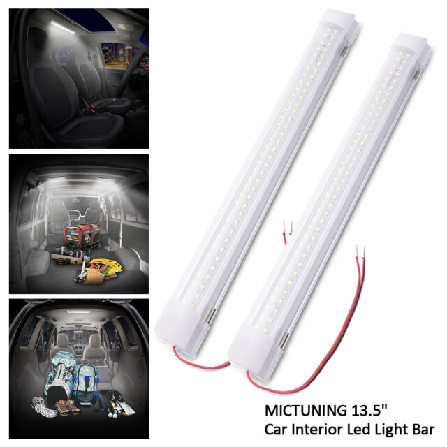 mictuning 135 car interior led light bar 35w 72 led lamp with on