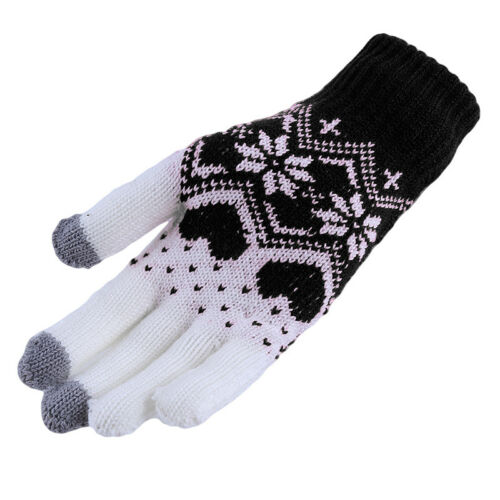 Fashion Couples Cashmere Touch Screen Full Finger Gloves Winter Warm 8C