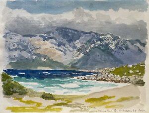Karl-adser-1912-1995-dia-soleado-en-Sedir-Cleopatra-isla-playa-montanas-de-Turquia