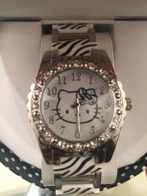 0b3499bf0 HELLO KITTY SILVER Crystal Simulated STAINLESS STEEL ZEBRA PRINT WRIST WATCH