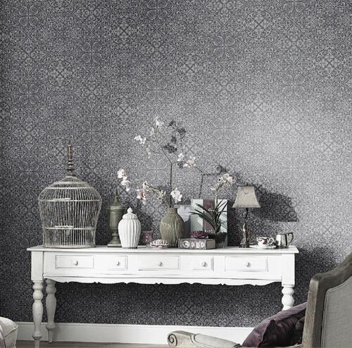 "10024-15 moderne Vliestapete /""Bali/"" edle Ornamente grau und silber mit Glanz"
