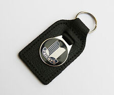 Triumph Shield Leather & Enamel, Chrome Key Fob for TR Spitfire GT6 Herald Stag