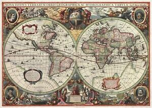 ANTIQUE-WORLD-MAP-16th-CENTURY-VINTAGE-Photo-Wallpaper-Wall-Mural-335x236cm