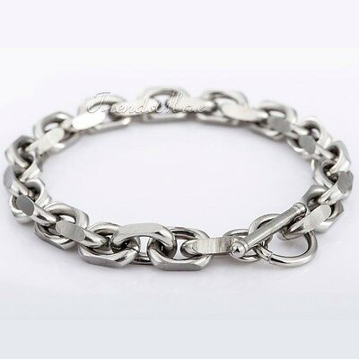 9mm Mens Chain Cable Link Stainless Steel Bracelet T/O Toggle Silver Gold Black