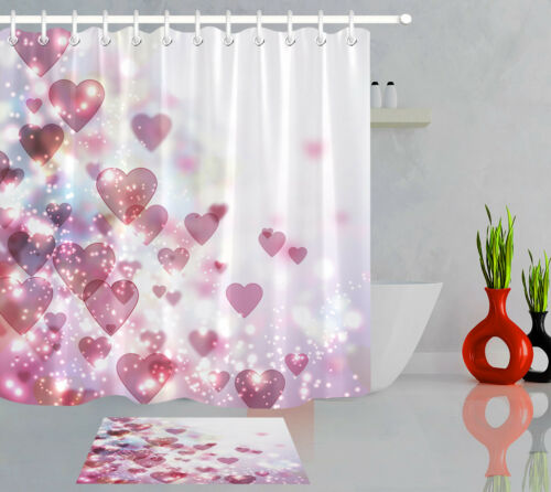 Shiny Valentine/'s Day Background with Bokeh Waterproof Fabric Shower Curtain Set