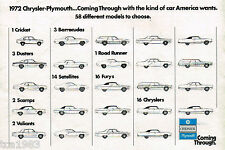1972 CHRYSLER PLYMOUTH Brochure:DUSTER,CUDA,ROAD RUNNER,IMPERIAL,FURY,SCAMP,