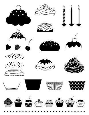 Artemio Clear-Stamps Set Cupcakes Muffins Kerzen Bausatz Motivstempel 1238