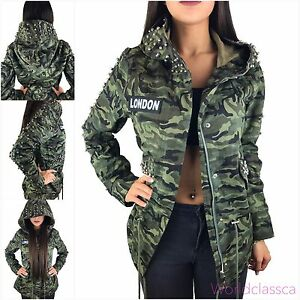 Details about Ladies Camouflage Jacket Parka Military Transition Jacket Hood Coat Studded Army show original title