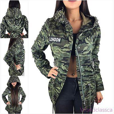 Da Donna Mimetico Giacca Parka Militare di transizione giacca borchie cappuccio cappotto Army