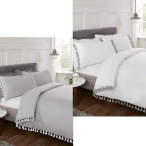 Plain Duvet Quilt Cover Bedding Set with Chunky Tassel Trim & Fringe in 2 colour