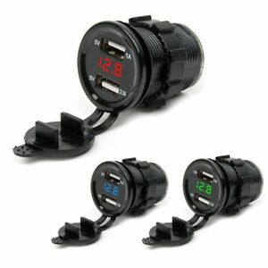 Waterproof-12-24V-Dual-USB-Port-Car-Cigarette-Lighter-Socket-Plug-LED-Voltmeter