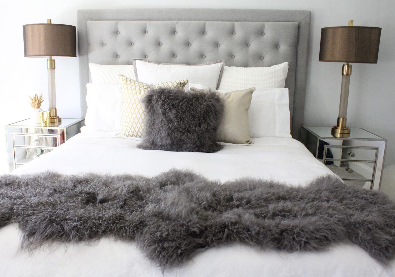 grau MONGOLIAN SHEEPSKIN FUR BED RUNNER SCARF DOUBLE HIDE PELT TIBETAN LAMBSKIN