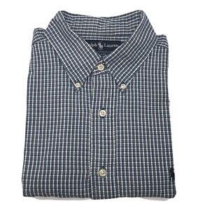 Polo-Ralph-Lauren-Sz-XL-Blaire-Button-Up-Long-Sleeve-Blue-amp-White-Plaid-Shirt