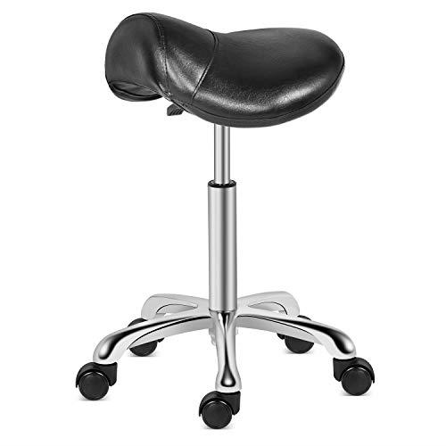Kaleurrier Saddle Stool Rolling Swivel Height Adjustable With Wheels Heavy Duty For Sale Online Ebay
