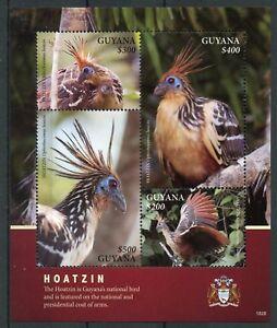 Guyana 2018 Neuf Sans Charnière Hoazin Huppé National Bird Of Guyana 4 V M/s Armoiries Oiseaux Timbres-afficher Le Titre D'origine