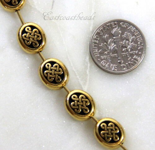 4 Pcs Antiqued Gold Plated TierraCast Celtic Oval Beads 10mm 4226