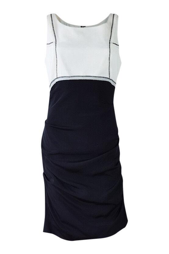 Nicole Miller Mezcla de Seda Vestido  De Cambio De Bloque De Color blancoo Negro (S)  barato en alta calidad