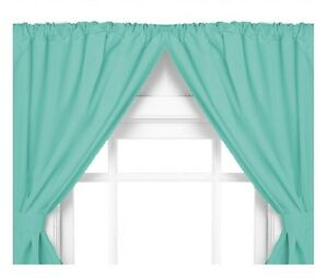 Vinyl Bathroom Window Curtain 2 Panels With Tie Backs 5 Guage Jade Blue Ebay