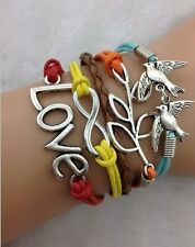 NEW Infinity  Love Dove Peace leaf Leather Charm Bracelet plated Silver