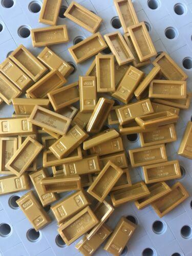 Lego Gold 1x2 Minifig Utensil Gold Bullion Ingot Bar Treasure Money New 25pcs