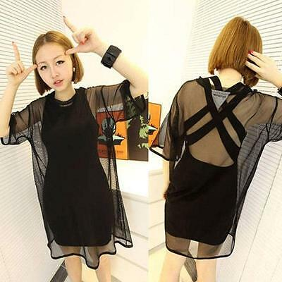 Sexy Women through Sheer Mesh Short Sleeve Tee T Shirt Oversize Tops Blouse