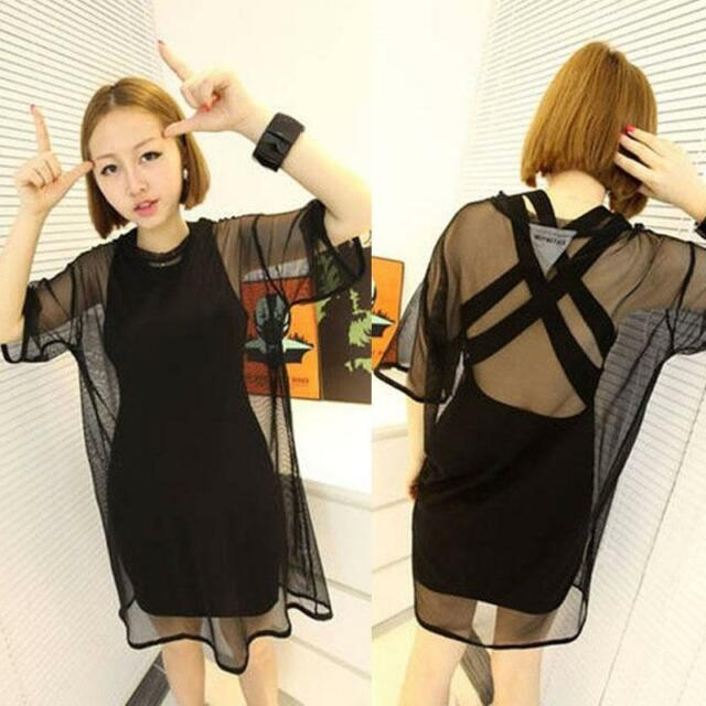 Sexy Women through Sheer Mesh Short Sleeve rf Tee T Shirt Oversize Tops Blouse