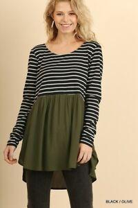 PLUS-XL-1XL-2XL-UMGEE-BLACK-OLIVE-or-FOREST-GREEN-STRIPE-Tunic-Top-Shirt-BHCS