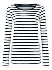 Marks and Spencer Pure Cotton Striped Long Sleeve Women's T-Shirt - Ivory Mix, Size 14