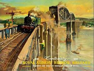 TRANSPORT-CENTENARY-BRUNEL-ROYAL-ALBERT-BRIDGE-SALTASH-UK-ART-PRINT-POSTER-CC303