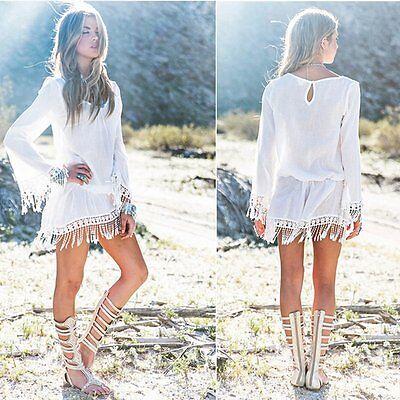 Summer Sexy Women Long Sleeve Party  Long Sleeve Casual Short Tunic Mini Dress