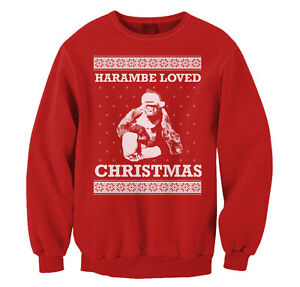 image is loading harambe loved christmas ugly sweater funny gorilla lives
