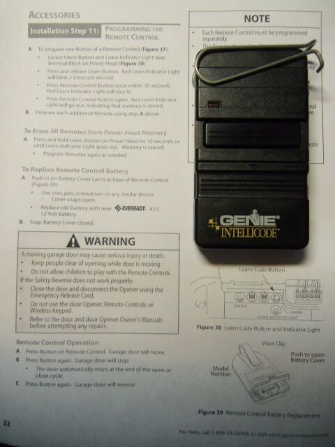 Genie Intellicode Acsgt Type 1 Garage Door Opener Remote B8qacsgt