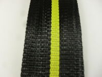 Aluminum Lawn Chair Webbing 39ft New, 2 1/4in Wide Black With Yellow Stripe