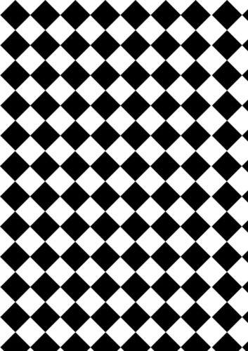 dolls house flooring check diamonds black//white small x2