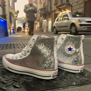 Converse-all-Star-Bianche-personalizzate-con-tessuto-Glitter-argento-Clean-stell