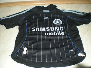 Un-a-manches-courtes-enfant-CHELSEA-Away-Shirt-Samsung-Mobile-Noir-Blanc-a-fines-rayures