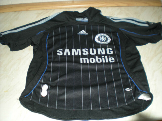 Un à manches courtes enfant CHELSEA Away Shirt-Samsung Mobile Noir-Blanc à fines rayures