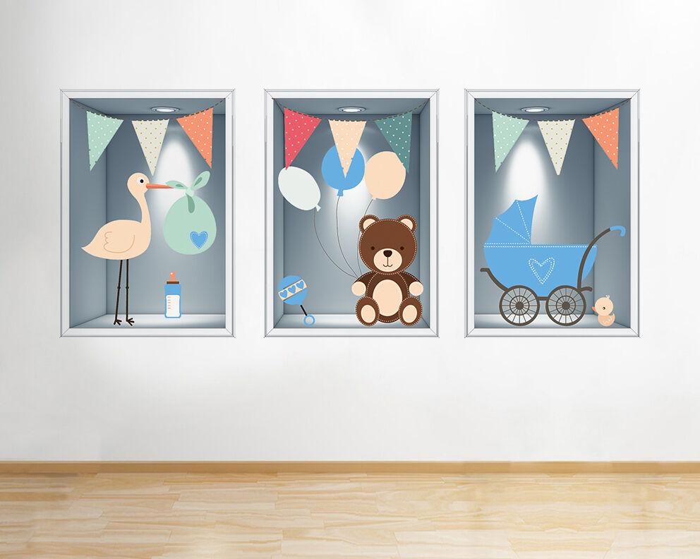 Q248w Baby Boy Blu Nursery Window Carino  adesivo da parete camera bambini