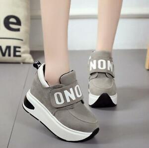 Womens Slip On Hidden Wedge Heel Platform Sneakers Casual Sports Running Shoes