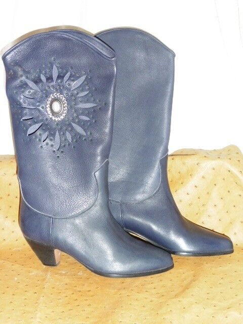 Stunning western xavier danaud boot all leather vintage grey 80 new t35