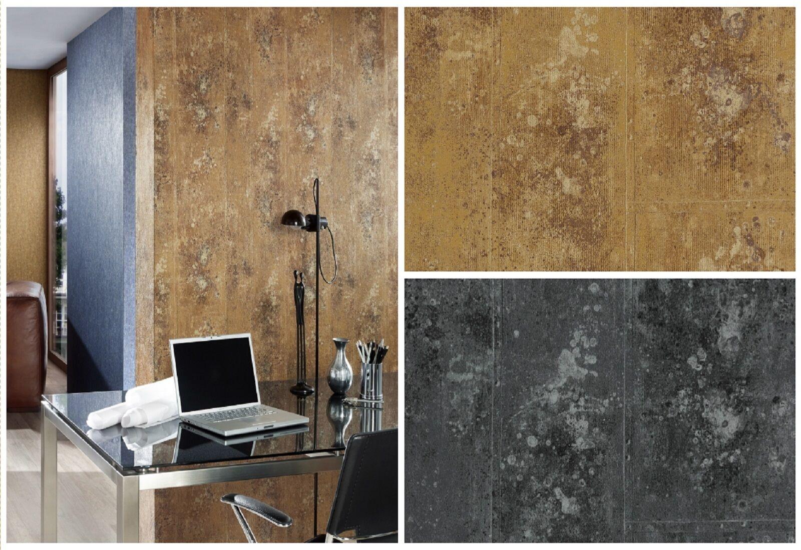 vlies tapete beton optik stein wand gold braun anthrazit. Black Bedroom Furniture Sets. Home Design Ideas