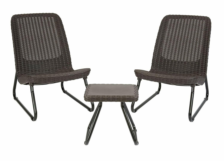 Keter Rio 3 para patio de exteriores jardín silla y mesa de conversación Conjunto de muebles Marrón