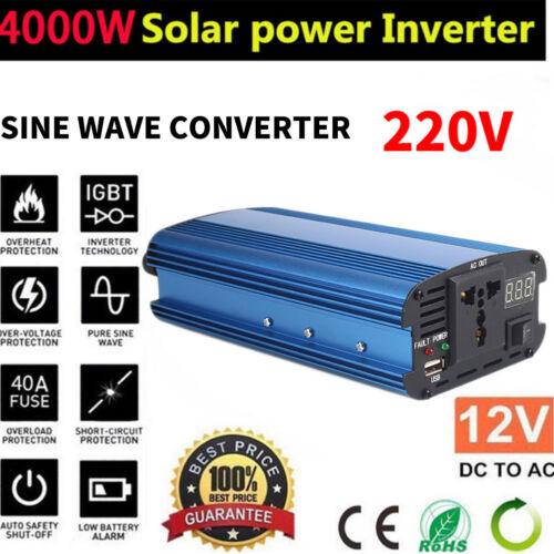 2000W-4000W Modified Sine Wave Power Inverter 12V DC 110V 220V AC Car Converter