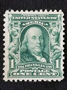 Benjamin-Franklin-Us-Postage-1-Cent-Stamp-1902-Green-Well-Centered-Used-lightly