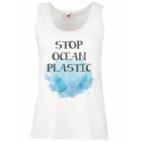 Señoras chaleco de plástico blanco detener Océano acuática Wildlife Conservation Top