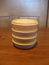 TUPPERWARE 4 sheer little wonder 6 oz snack bowls #1286 w/golden wheat lids