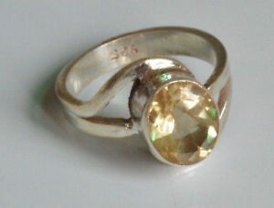 Traditional-Sterling-Silver-Asian-Vintage-Style-Golden-Topaz-Ring-Size-N1-2-Gift